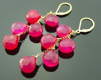 Hot Pink Chalcedony Cascade 14K Gold Filled Leverback Earrings
