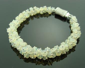 Ethiopian Welo Opal 925 Sterling Silver Cluster Bracelet