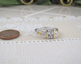 Princess Cut CZ Sterling Silver engagement Ring, Size 10