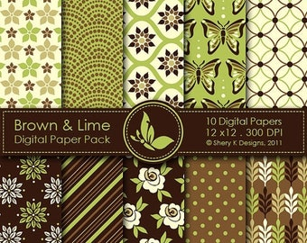 40% off Brown & Lime Paper Pack - 10 Digital papers - 12 x12 - 300 DPI