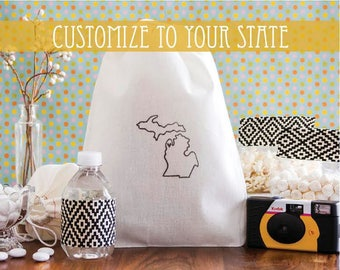 Hawaii Welcome Bags - Hawaii Wedding Favors - Custom State Wedding Favor - State Outline Bags - Hawaii Wedding Welcome Bags