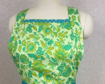 Retro 70's Style Full Length Apron in Vibrant Green and Teal