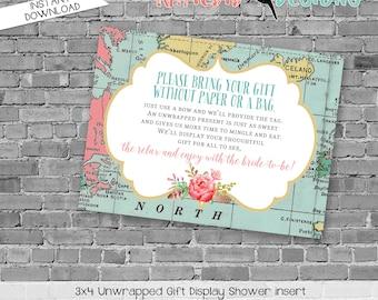 Display shower insert Unwrapped gift enclosure card Couples shower invitation Travel wedding invitation bridal shower   370 katiedid designs