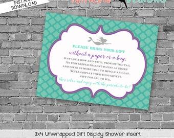 Display shower insert Unwrapped gift enclosure card Mermaid baby shower invitation Purple teal mermaid invitation   1365 Katiedid Designs
