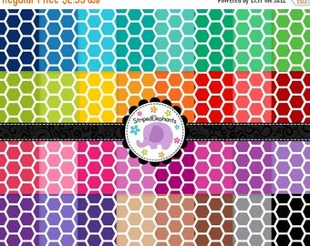 40% OFF SALE Honeycomb Digital Papers 1, Hexagon Digital Scrapbook Paper, Geometric Digital Backgrounds, Instant Download, Commercial Use