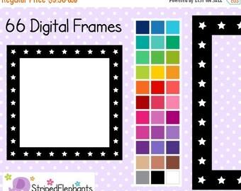 40% OFF SALE Star Square Digital Frames 2 - Clip Art Frames - Instant Download - Commercial Use