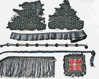 Lot of Black Victorian Trims and Flapper Beaded Belts Great For Steampunk, Goth, Repurpose 6 Different Items