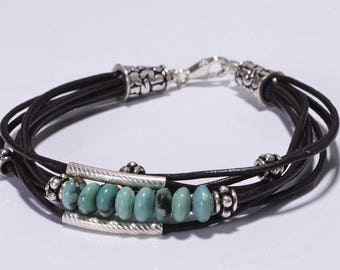 Kingman Turquoise Leather bracelet  Multi Strand Bracelet Bangle Bracelet Boho Jewelry Hippie Bracelet