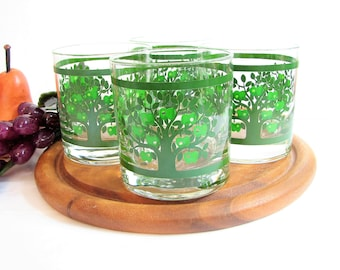 "Old Fashioned Glasses, Colony Glass GREEN APPLE TREES Glassware, 3 1/2"" 11oz Rocks or Whiskey Glasses, Set of 4, Vintage Barware, Lowballs"