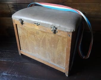 Vintage French wooden wood river seat fishing tackle painting storage box painting paints storage circa 1960's / English Shop
