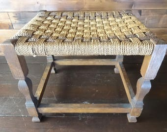 Vintage French Large Wickerwork Footstool Foot Stool Rest Wooden Bench Seat Small Table Stand Display circa 1950-60's / English Shop