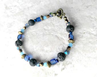 Essential oil diffuser, Bracelet, lava bead bracelet, blue and black, boho chic style, mothers day gift, gift for her, cobalt blue and aqua