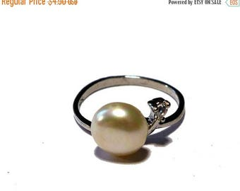 ON SALE Retro Sterling Silver Pearl & CZ Ring 5.5 Size #2204