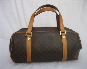 Vintage 90's CELINE Macadam Brown Coated Canvas & Tan Leather Satchel Handbag S100/55