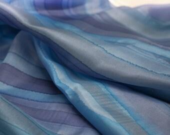 Silk scarf blue hand painted, long silk shawl, purple stripes shawl, silk wrap handpainted, hand painted silk accessories ooak ready to ship