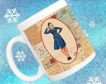 Flight Attendant Coffee Mug, Vintage TWA Stewardess, Eiffel Tower, Bon Voyage, Flight attendant gift, gift for travelers, stewardess gift