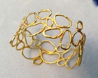 HOT SALE Sterling Silver Vermeil Hammered cell Bangle bracelet ooak