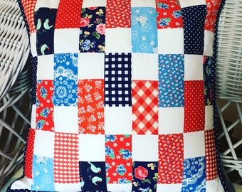 Scrappy Quilted Pillow Cover - fits 18 inch pillow form - eco friendly and one of a kind