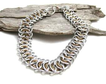 Bronze Vertebrae Chainmaille Bracelet - Bronze Chain Maille Bracelet - Chain Bracelet - Wide Bracelet