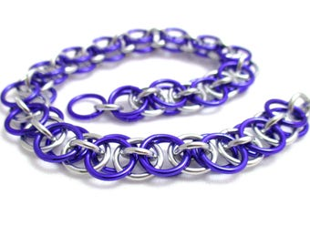 Purple Chain Maille Bracelet - Purple Helm Chainmaille Bracelet - Chain Bracelet