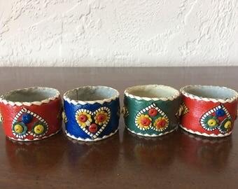 Vintage Suade Leather Napkin Rings / Folk Art Hand Made Napkin RIngs // FL