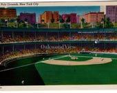 New York City Polo Grounds Linen Postcard c1940s, Unused Vintage Baseball Ephemera, FREE SHIPPING