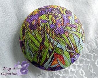 Van Gogh fabric button The Iris, 1.25 in / 32 mm in diameter