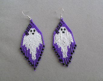 Ghost Earrings in delica beads for Halloween