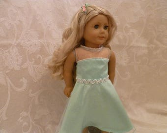 18 Inch Doll Shiny Mint Green Sleeveless Summer Party Dress with Pink Roses Hairclip for American Girl Dolls