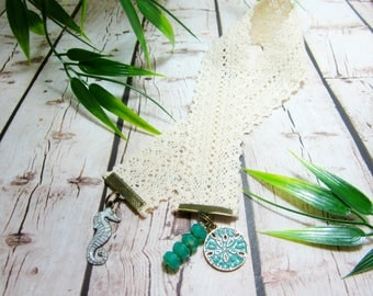 Sand Dollar Bookmark Seahorse Ocean Themed Bookmark Lace Ribbon Bookmark Beachy Picasso Czech Rondelles Pacific Green 161B