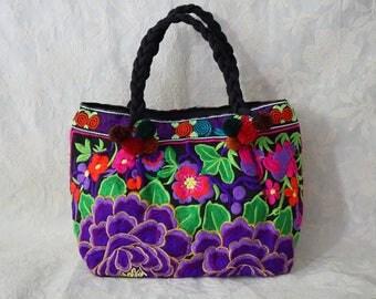 Hmong Thai Hill Tribe Bag with Pom Pom Thai Hmong Bag Embroidered Ethnic Purse Bag Boho Bag Shoulder Bag