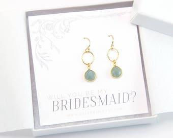 Dainty Aquamarine Gem Drop Earrings, Bridal Party Gift, 14k Gold Filled Gemstone Earrings, Circle Drop Earrings, Bridesmaids Gift, Modern