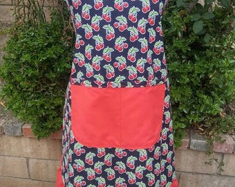 Ladies plus size cherry apron-vintage look,great gift idea