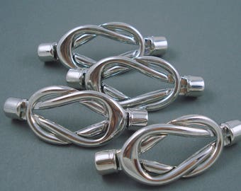 Destash Silver Finish Magnetic Interlocking Clasps for Leather and Cord, Four Sets
