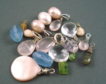 Destash Mix of Gemstone Beads, Most Wrapped as Charms, 20 Pieces