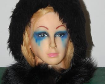 vintage 60s Italian black fur hat and collar, or scarf, boho hood, fur bonnet, black long fur, shearling or goat, apres ski hat and scarf