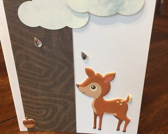 Fawn under the clouds card