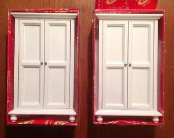 Miniature dollhouse  Furniture White wooden Armoire