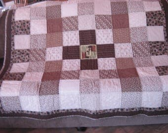 Brown Print Throw Quilt