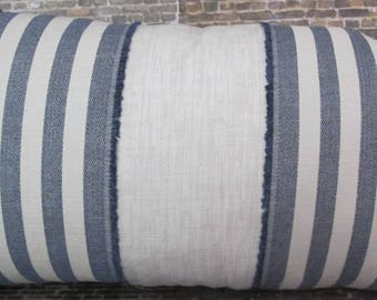 Designer Pillow Cover - 10 x 20 - Fringe Wide Stripe - Blue