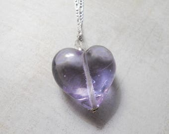 Purple Valentine's Day Heart Necklace ~ Purple Glass Heart For a Different Valentine Color