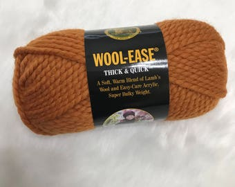 DeStash Yarn - Lion Brand Wool Ease Thick & Quick, Super Bulky Wool Blend Yarn, Butterscotch