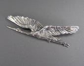 ON HOLD - French Crane Brooch, Silver Brooch, Flying Bird, Signed, Crab Mark, Art Nouveau, Antique Pin, Nature, St Odile