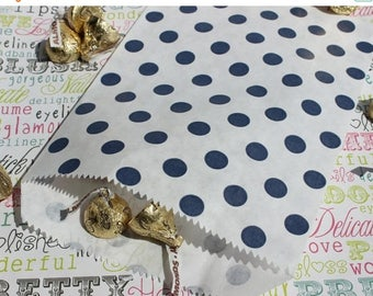 GLAMSALE 50 Navy Blue Polka Dot Party Favor Bags, Navy Polka Dot Wedding Favor Bags, Candy Bags, Popcorn Bags, Cookie Bags, Nautical Favor B