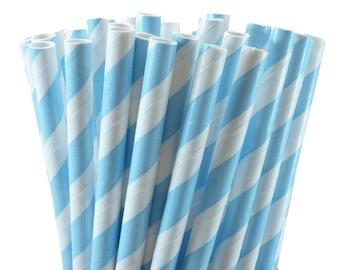 GLAMSALE - 400 Light Blue Party Straws, Blue Drinking Straws, Wedding Straws, Baby Shower Party Straws, Birthday Drinking Straws
