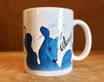 "Patronus Always Mug - ""After all this time?"" Ceramic Mug with phoenix and doe - Heat-Press Sublimation of Original Watercolor Artwork"