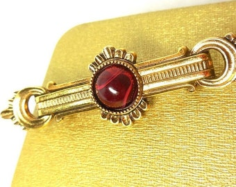 SALE Bar Pin 1928 Jewelry Co. Gold Marbled Red Cab Victorian Revival Art Deco