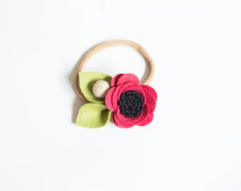 Red Felt Headband, Baby flower headband, Flower headband, Baby Headband, Cute baby headband, Floral baby headband, Baby girl headband