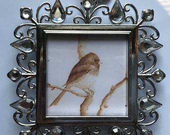 Filigree Watercolor Painting Print Junco Bird Ornament