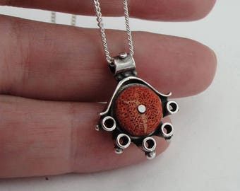 Handcrafted Sterling Silver coral  Pendant ,chain ,CHRISTMAS ,   ( 430)